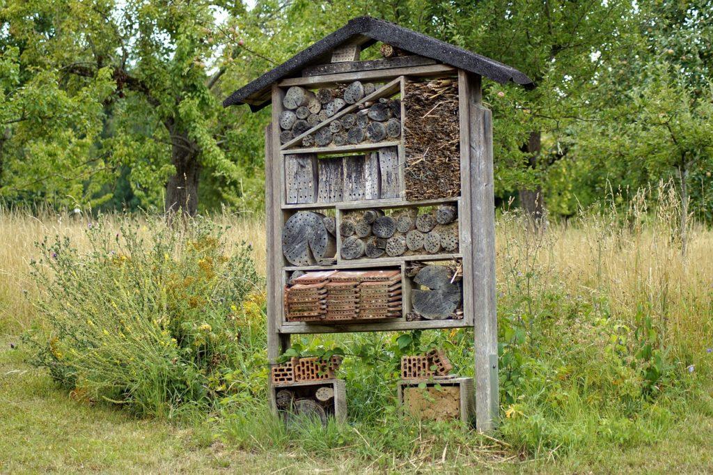 Beispiel für ein selbstgebautes Insektenhotel. Hier wurde als Insektenhotel Standort eine blütenreicher Feldrand gewählt. Das solltet ihr beim Insektenhotel selber bauen ebenfalls berücksichtigen.