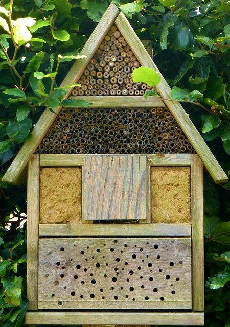 Ein hoher Insektenhotel Standort vermeidet den Zugang von Zwei- und Vierbeinern.