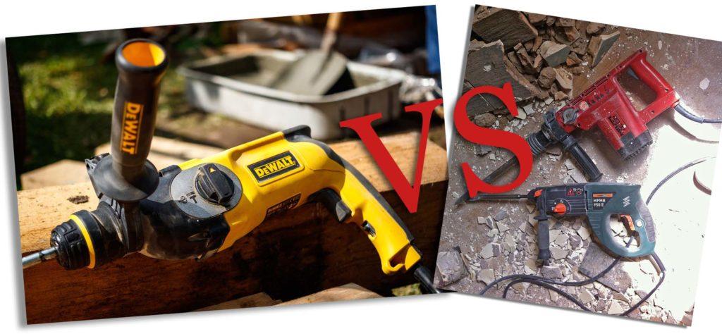 Bohrhammer vs Schlagbohrmaschine. Beide haben zwar Gemeinsamkeiten, sind jedoch grundverschieden.